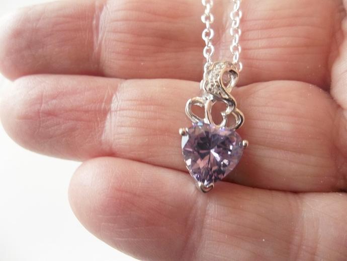 BDSM Choker,  Amethyst Heart, February Birthstone, Keepsake gift, Valentine