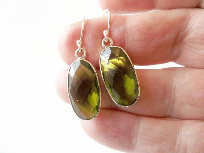 Beautiful Peridot Earrings, Gemstone Jewelry, Sterling Silver, Quinceanera