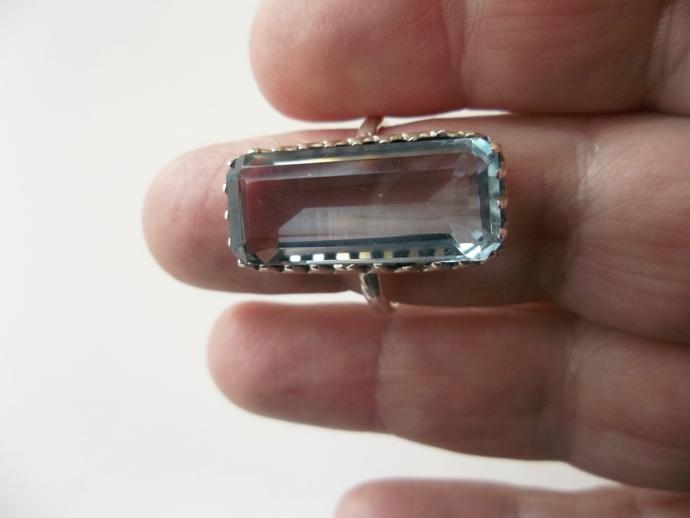 Big Bold Beautiful, 14 ct Aquamarine Ring, Cocktail Ring, High End Ring, Holiday