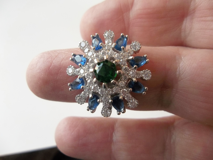 6ct  Sapphire and Topaz Ring, cocktail ring, Flower Ring, Keepsake Gift, High