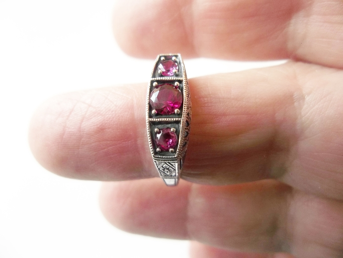 Ruby Ring, Proposal Ring, genuine Gemstones, size 8,  Holiday Gift Idea,