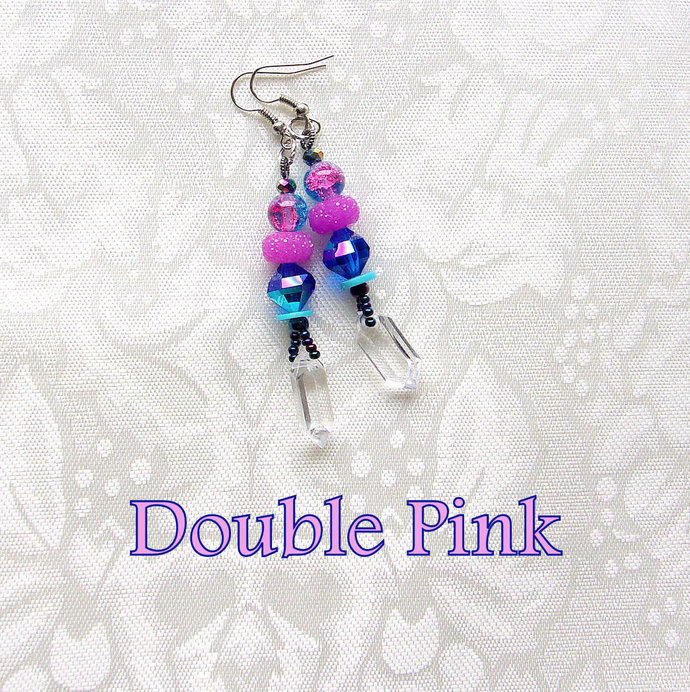 Glamorous Jeweltone Dangle Earrings, beaded in Iridescent Blue with Double Pinks