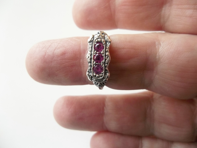 Ruby Ring, Edwardian style, Proposal Ring, genuine Gemstones, size 7,