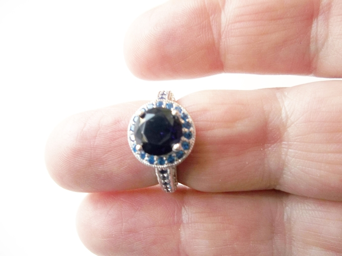 Sapphire Halo ring with a  blue band, keepsake gift, September Birthstone, size