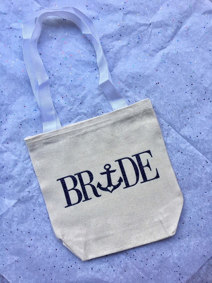 7 Sizes, Custom Bride Tote Bag, Nautical Bride Bag, Bridal Gift, Wedding Favor,