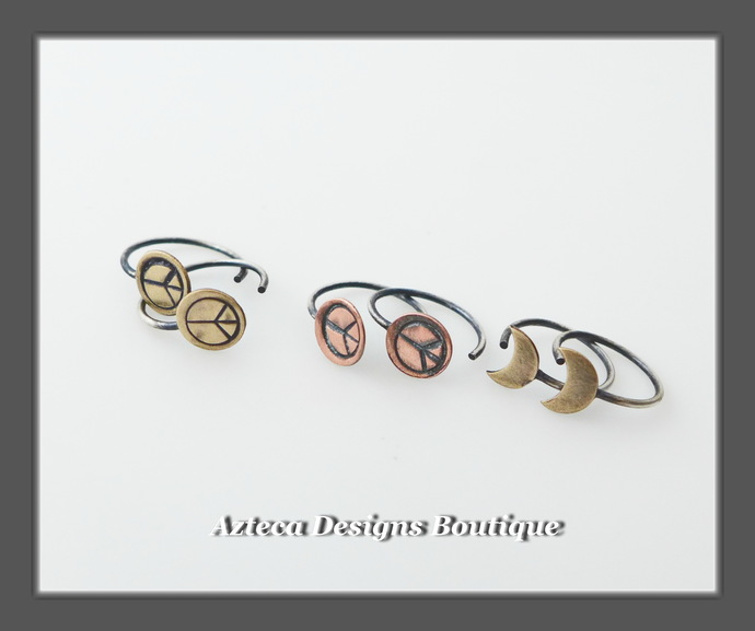 Teeny Tiny Crescent Moon Open Hoops in Brass and Silver Artisan Earrings
