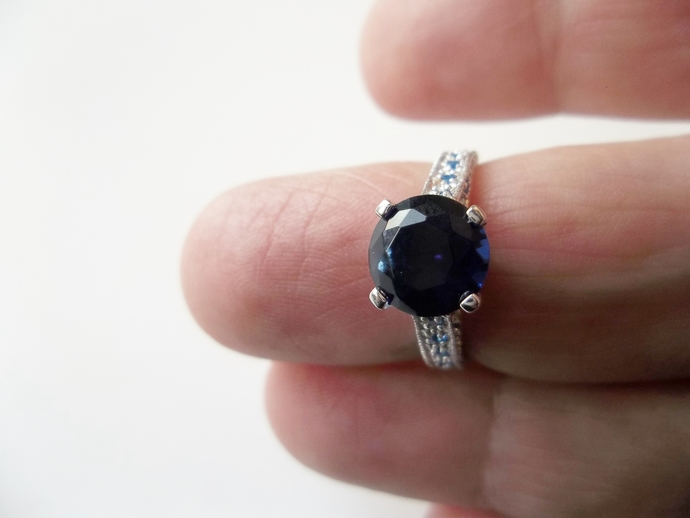 Sapphire Gemstone Ring with a blue band, New Trend Engagement, Engagement ring,