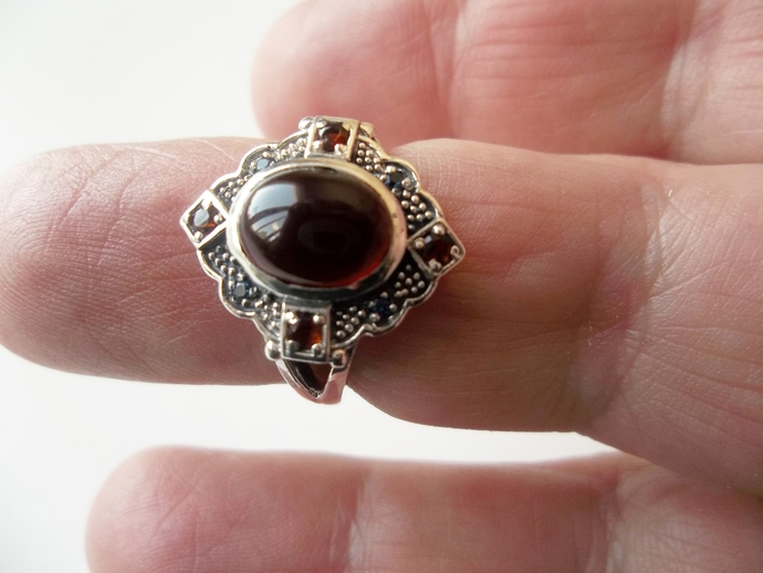 Garnet Ring, size 6 ring, January Birthstone, Holiday Gift Idea, Punk Rock,
