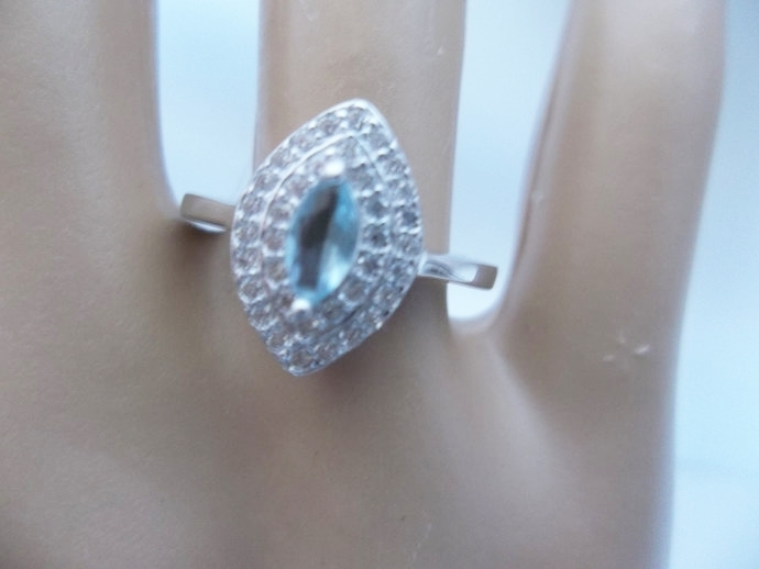 Natural Aquamarine And White Topaz, Halo Ring, Promise Ring,  Holiday Gift