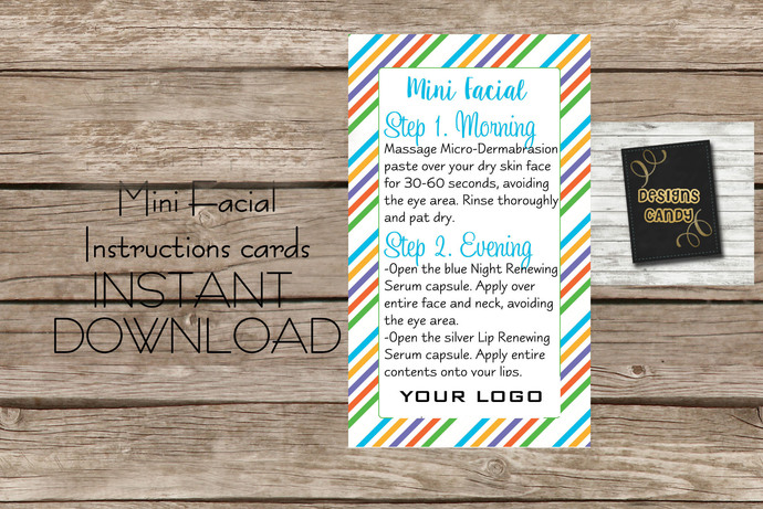 Mini Facial R+F - Diagonal Stripes- Instruction card