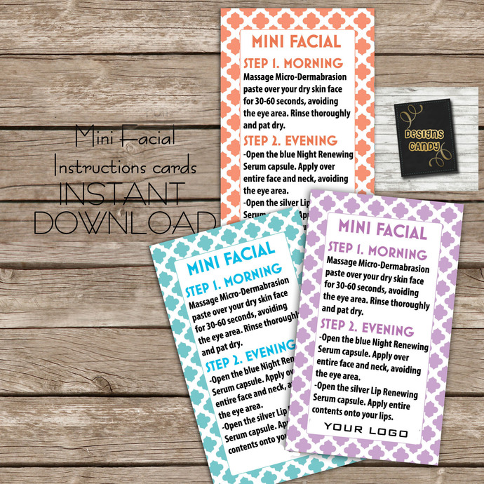 Mini Facial R+F, 3 colors- Instructions card.