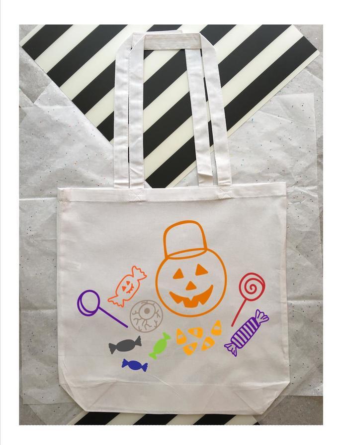 Large Kids Halloween Tote Bag, Trick or Treat Bag, Custom Halloween Bag, Happy