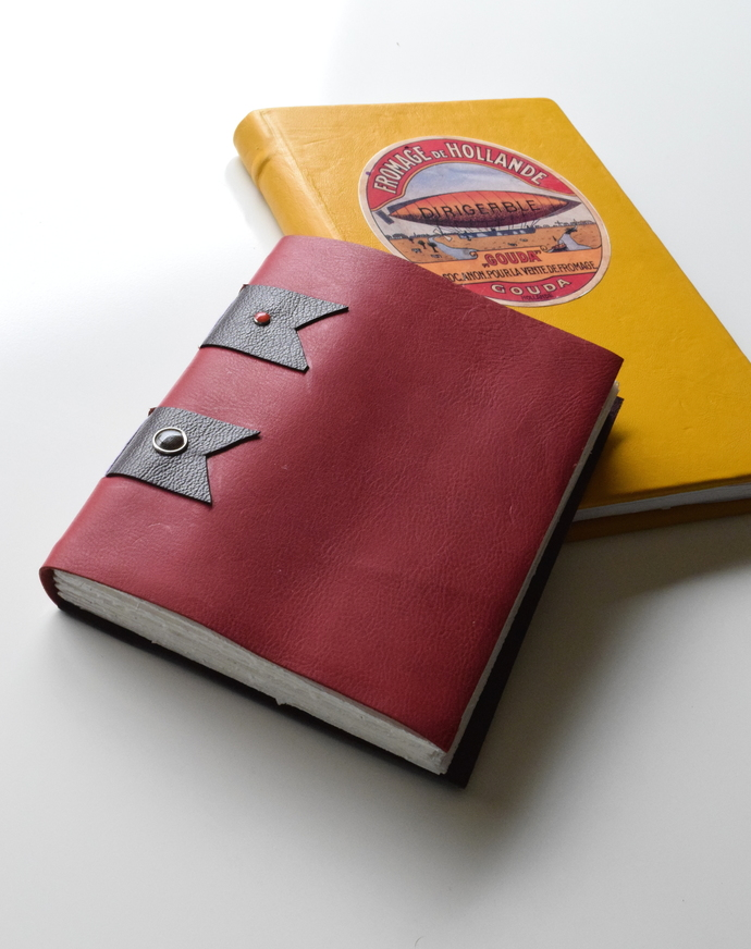 Yelow Leather Steampunk Journal with Antique Label