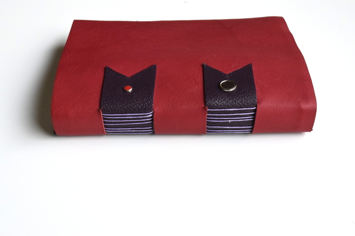Red Cross Structure Binding Leather Sketchbook
