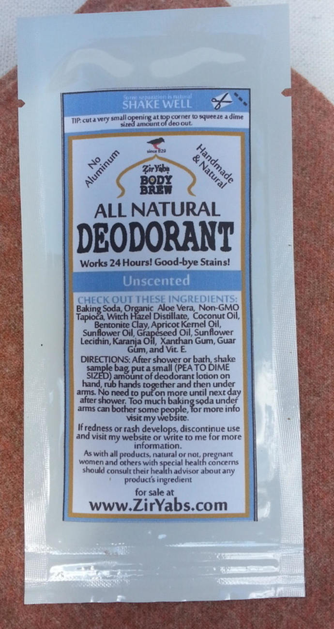 SAMPLE  POUCH | Amazing 24 Hour Natural Deodorant | UNSCENTED