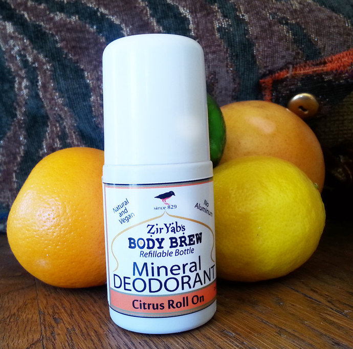 Mineral Deodorant | Citrus | Roll On | 2 oz Refillable Bottle | Vegan | Baking
