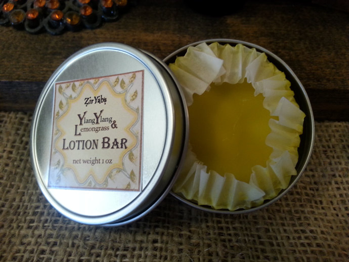 Lotion Bar | Ylang Ylang and Lemongrass Essential Oils | 1 oz Tin | Organic