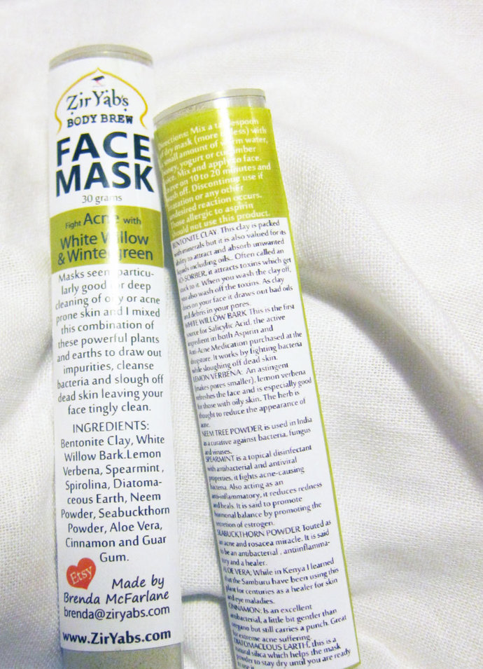 Face Mask | 1.4 OZ | for Acne Prone Skin - White Willow - Wintergreen - Neem -