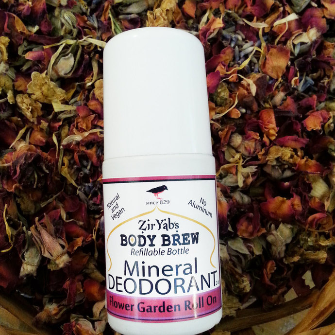 Mineral Deodorant | Flower Garden | Roll On | 2 oz Refillable Bottle | Vegan |