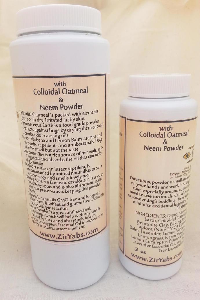Dog Deodorizer and Flea Powder | 6 oz | Diatomaceous Earth | Lemon Verbena |