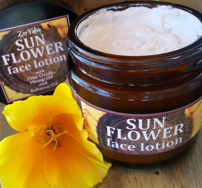 Sunflower Face Lotion | 2 oz | Zinc | Hemp | Babassu Oil | SPF | Sunscreen |