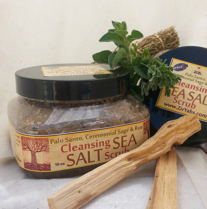 Palo Santo Spiritual Cleansing Sea Salt Scrub   10 oz   Santeria Rue   Cleanse