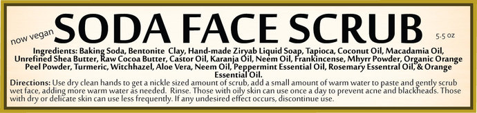 Soda Face Scrub | 4.5 oz | For Acne | Combination Skin | Dry Skin Cleanser |