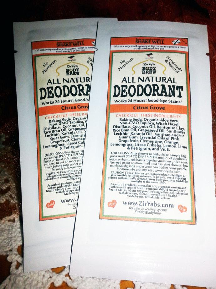 SAMPLE POUCH | Amazing 24 Hour Natural Deodorant | CITRUS