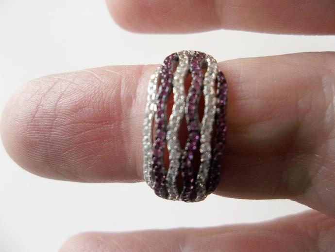 Ruby Ring, Edwardian style, wedding band, genuine Gemstones, size 7,  925