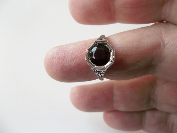 Garnet Hexagon Ring, size 6, 925 silver, everyday jewelry,  Engagement Ring,