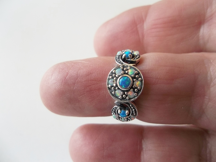 Classic Opal Ring, blue Opals, Art Deco Style, High Fashion Ring, Holiday Gift,
