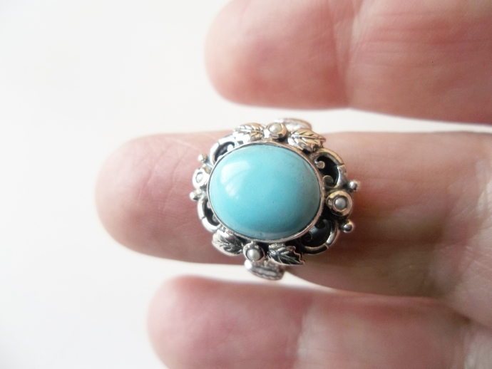 4ct Turquoise ring, Size 8, Art Deco Style,  Keepsake Gift, 925 silver, High