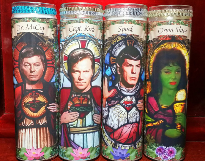 SALE!  Special ! You PICK ANY **  3 Candles - Celebrity Saint  Prayer Candles