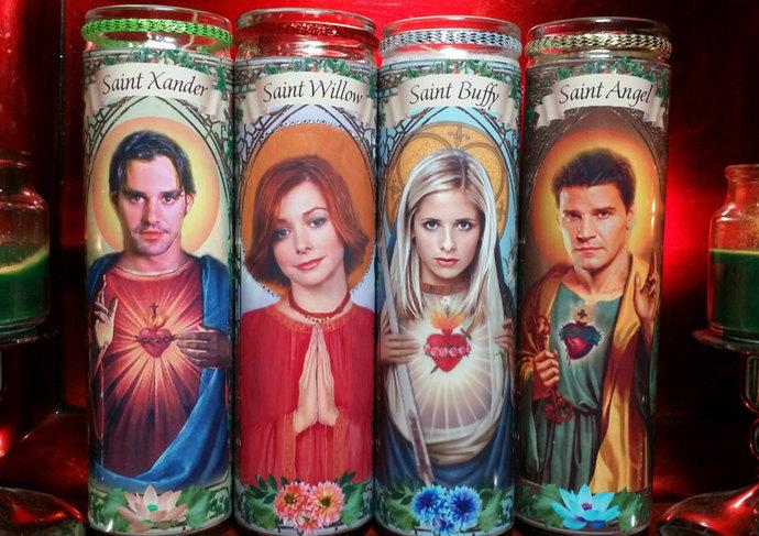 "SET of 12 CAST - Buffy the Vampire Slayer tv -  8"" Celebrity Saint prayer"