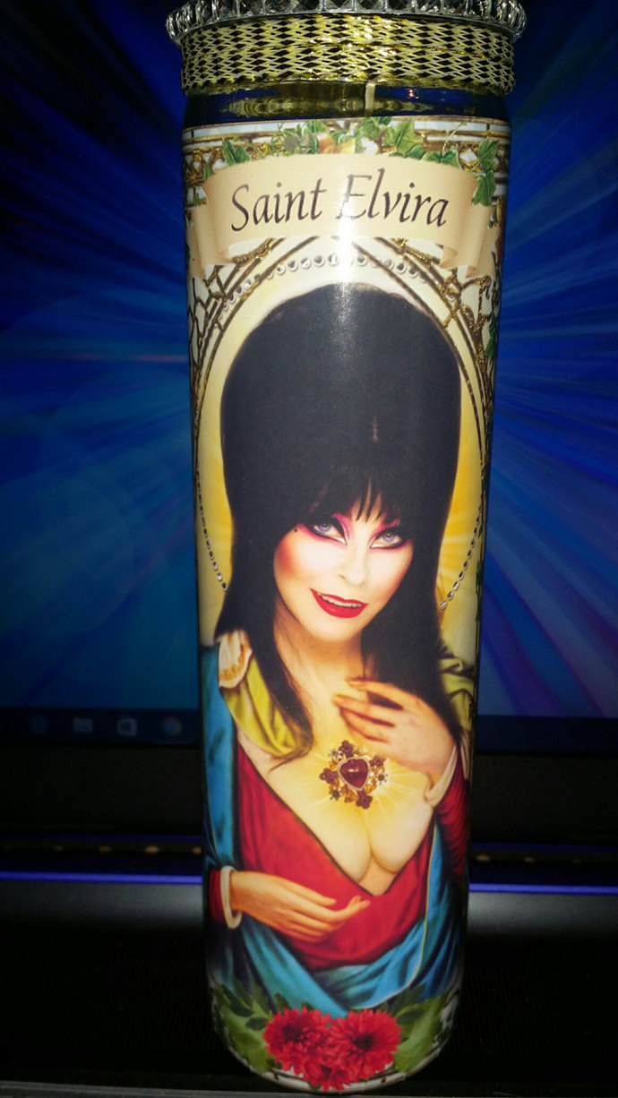 "Elvira - 8"" Celebrity Saint Candle Church Window frame"
