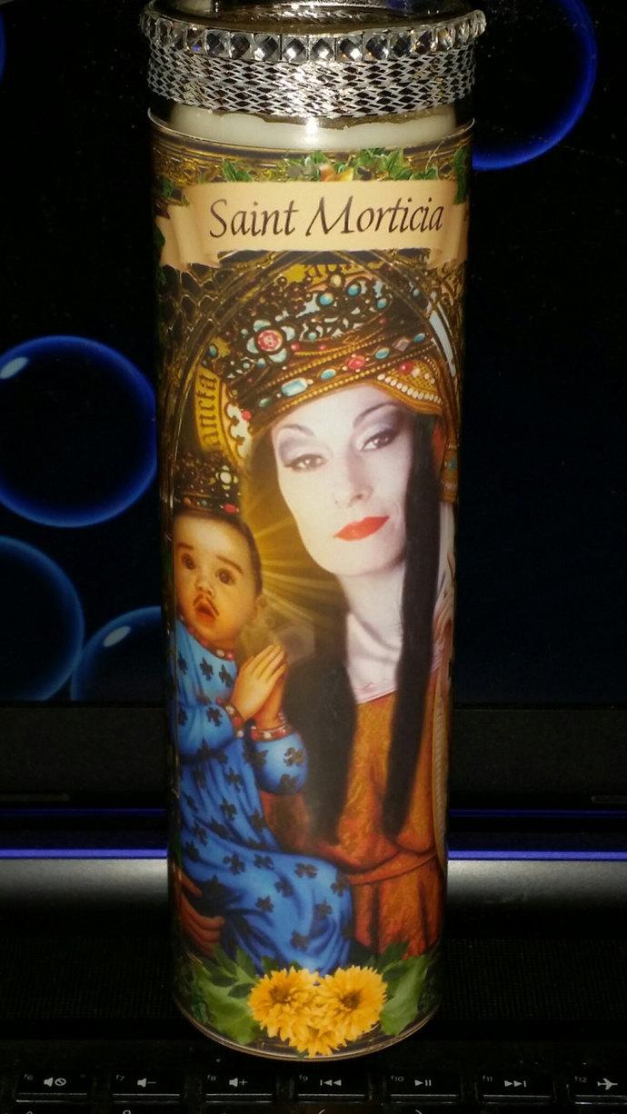 "Elvira - 8"" Celebrity Saint Candle Church Window frame"