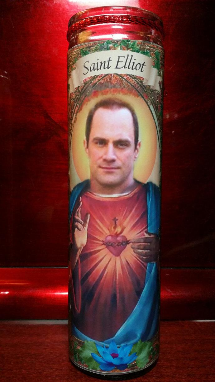 Elliot Stabler  - SVU Celebrity Church Window Saint Prayer Candle frame