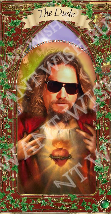 The Dude Lebowski Celebrity Saint Candle Prayer Candle - Church window styled