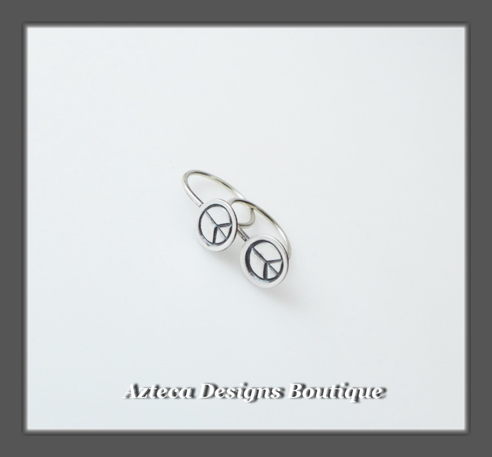 Teeny Tiny PEACE Open Hoops Silver Artisan Earrings 01