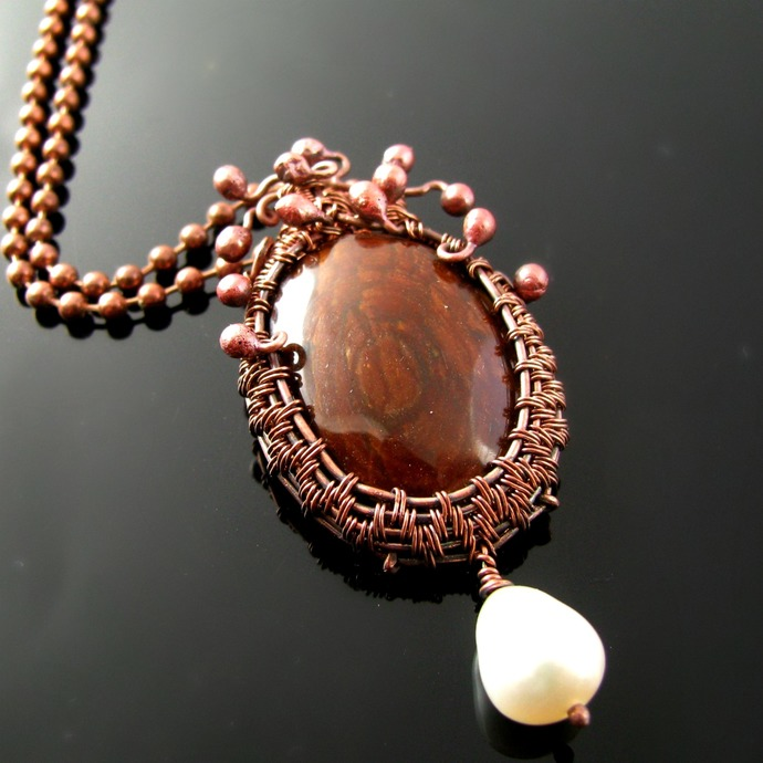 Wire woven copper pendant with Sequoia petrified wood cabochon