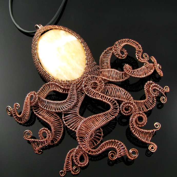 Large wire woven octopus pendant with tumbled rock