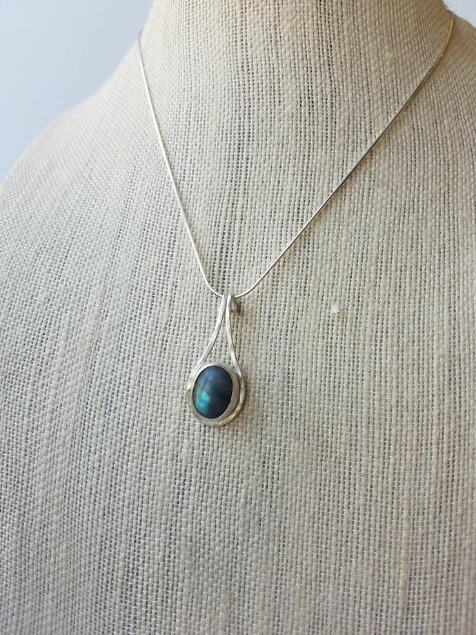 Labradorite Rain Drop Pendant, Sterling Silver, Ready to Ship, Free Shipping