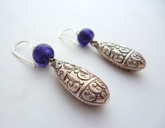 Silver Drop & Purple Earrings