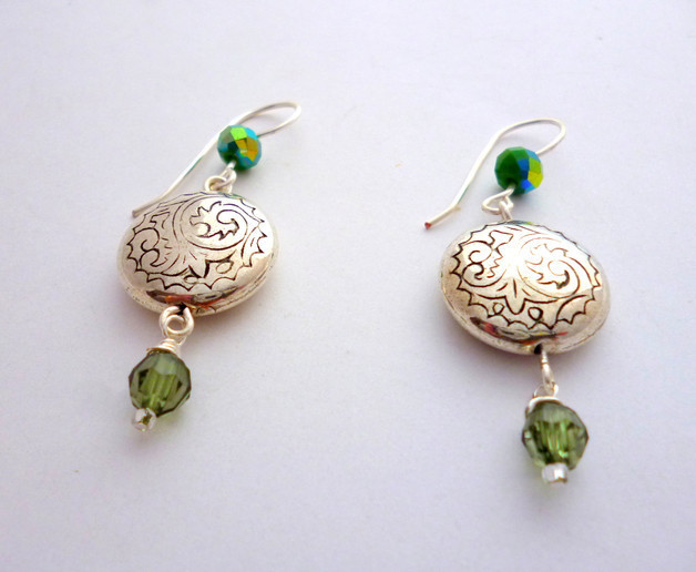 Silver & Green Earrings