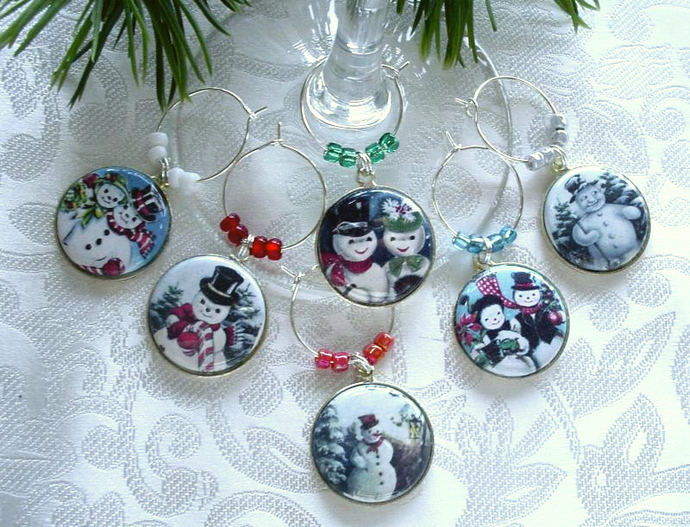 Festive Snowmen Drink Glass or Wine Charms Set of 6