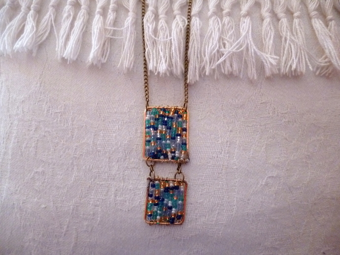 Blue & Gold Long Necklace