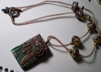 Bronze and Green Knitted Wire Necklace with Clay Pendant
