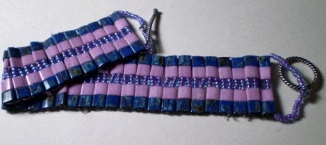 Pink and Purple Tila Bead Bracelet