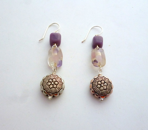 Silver and Mauve Earrings