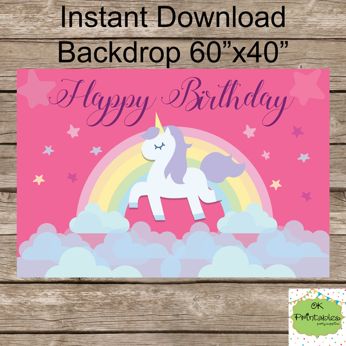 Magical Unicorn Birthday /  Unicorn Backdrop - Happy Birthday Unicorn banner-